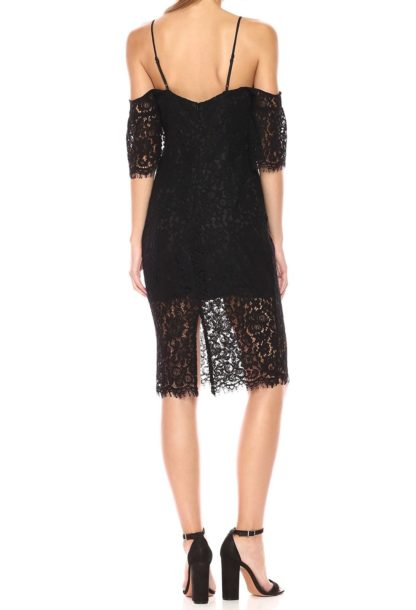 Bardot платье футляр кружевное черное