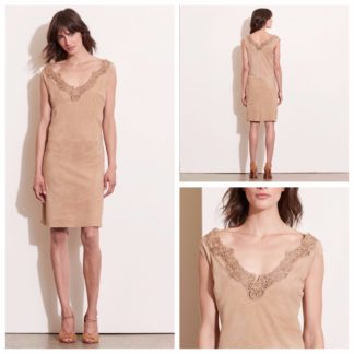Замшевое платье с кружевом Lauren Ralph lauren