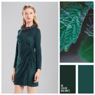 Изумрудное платье из эко замши Josie Natory