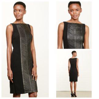 Платье-футляр с натуральной кожей Lauren Ralph Lauren